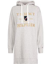 Tommy Hilfiger Kristal Embroidered Logo Long Hoodie - Gris