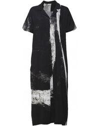 Crea Concept Abstract Print Shirt Dress - Black