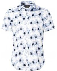 Guide London Short Sleeve Floral Shirt - Bleu