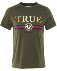 True Religion - Gold Letter T-shirt, Slim Fit Olive Green Tee - Lyst
