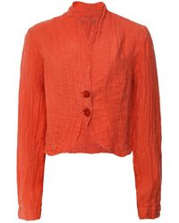 Grizas Cropped Linen Jacket - Orange