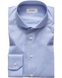 Eton of Sweden - Slim Fit Lyocell Blend Striped Shirt - Lyst