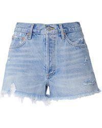 Agolde Parker Vintage Cut Off Denim Shorts - Bleu