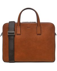 BOSS by Hugo Boss Zipped Document Case In Italian Leather With Contrast Stitching - Brown
