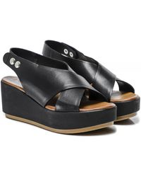 Inuovo Leather Slingback Wedge Sandals - Black