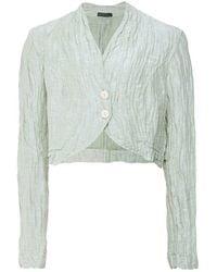 Grizas Linen & Silk Cropped Jacket - Green