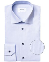 Eton Slim Fit Striped Shirt - Bleu