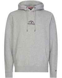 Tommy Hilfiger Organic Cotton Embroidered Logo Hoodie - Gris