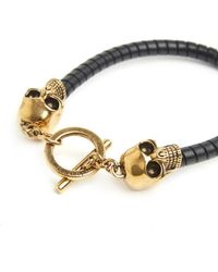 Alexander McQueen - Gold Skulls Leather Bracelet - Lyst
