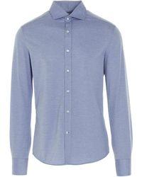 Brunello Cucinelli Camicia cotone basic - Blu