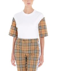Burberry Serra Checked Cotton-jersey T-shirt - White