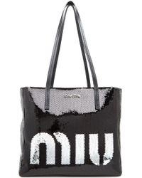 Lyst - Miu Miu Sequin Logo Tote Bag in Green fd1470e275
