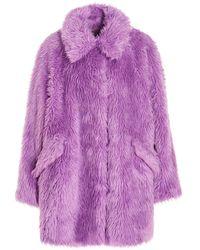MSGM Fake Fur Coat - Purple