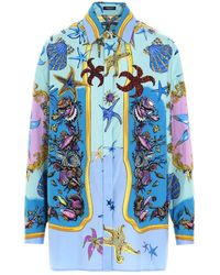 Versace Camicia stampa all over - Blu