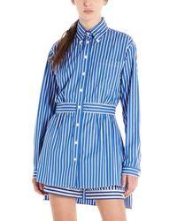 Prada Striped Poplin Shirt - Blue