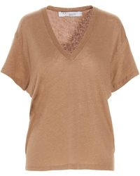 IRO V-neck T-shirt - Brown