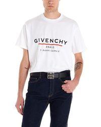 Givenchy Paris '3 Av George V' Logo T-shirt - White