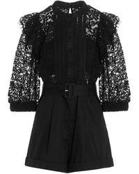Self-Portrait Lace Mini Bodysuit - Black