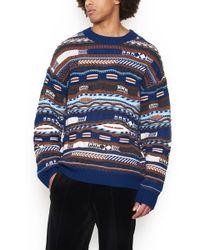 Laneus - Pattern Long-sleeved Sweater - Lyst