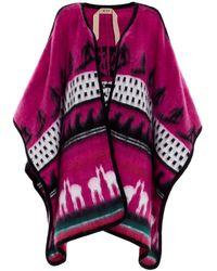 N°21 Intarsia Wool Cape - Multicolour