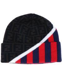 Fendi Contrast Logo Stripes Beanie - Multicolor