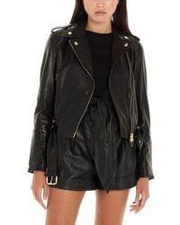 Liu Jo Leather Biker Jacket - Black