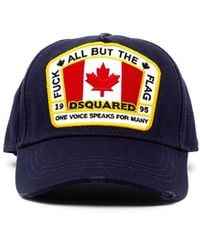 DSquared² Cappellino 'Fuck all but the flag' - Blu