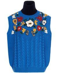 Miu Miu Embroidery Virgin Wool Vest - Blue