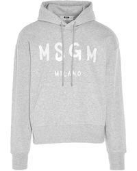 MSGM Felpa con cappuccio stampa logo - Grigio