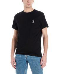 Burberry T-shirt In Jersey Di Cotone Con Logo - Nero