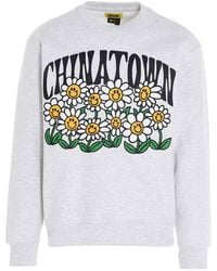 Chinatown Market Smiley Flower Power Crew' Capsule 'printables' Sweatshirt - Grey