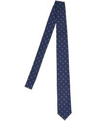 Fendi Cravatta seta logo - Blu