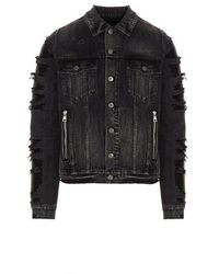 Balmain 'biker' Denim Jacket - Grey