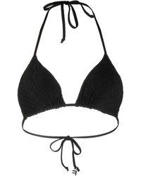 Fisico Embossed Croc Print Swimsuit Top - Black