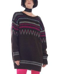 Junya Watanabe - Brown And Multicolor Jacquard Sweater - Lyst