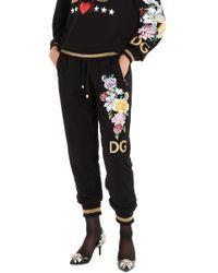 Dolce & Gabbana Floral Embroidery Sweatpants - Black