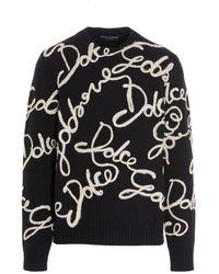 Dolce & Gabbana Maglione intarsio logo - Nero