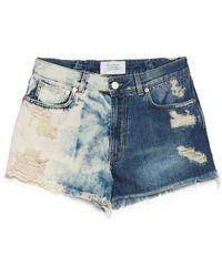 Givenchy Destroyed Denim Shorts - Blue