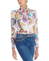 Moschino 'all Faces' Georgette Blouse - Multicolor