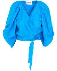 Art Dealer Silk Jacquard Top - Blue