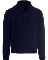 Zanone 'pescatore' Hooded Sweater - Blue