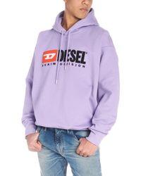DIESEL - Felpa con cappuccio logo vintage - Lyst