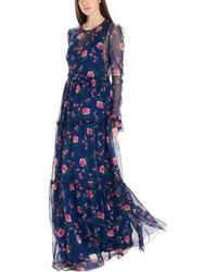 Philosophy Di Lorenzo Serafini Floral-print Long Dress - Blue