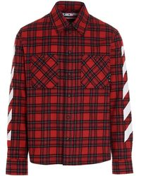 Off-White c/o Virgil Abloh Check Flannel Shirt - Red
