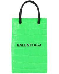 Balenciaga 'shopping Phone Holder' Crossbody Bag - Green