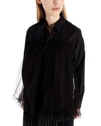 Noir Kei Ninomiya Tulle Applications Cotton Shirt - Black