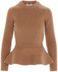 Alexander McQueen Peplum Sweater - Brown