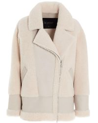 Blancha Leather And Curly Fur Shearling Jacket - Natural