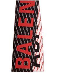 Balenciaga Logo Scarf - Red