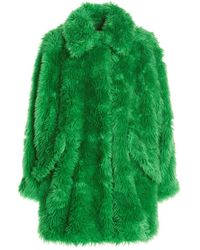 MSGM Fake Fur Coat - Green